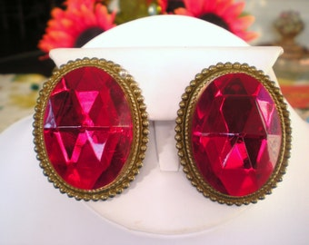 Huge Red Rhinestone Statement Clip Earrings