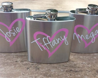 Bridesmaid Flask, 6 ounce, Stainless Steel Personalized Flask. Bridesmaid and Maid of honor Gift. Heart Designed You Choose Colors
