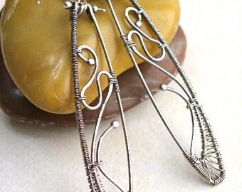 Handmade wire wrapped Sterling fine silver long earrings women jewelry