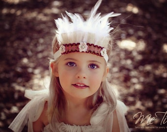 Vintage Shabby Chic Pink and Gold Feather Headband Headdress Baby Child Girls
