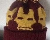 Knitted Beanie Pompom Bobble Hat  Iron Man 3 style/color  burgundy/gold adult size