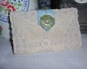 Linen Tea Wallet with Vintage Lace Overlay
