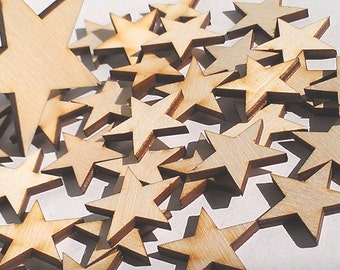 "6 Ct 3.5"" Wood Stars - Unfinished - for Charms, Crafts, Pendants, DIY Projects SH-309-3.5"