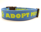Blue Adopt Me Dog Collar and Leash, Adopt Me Leash, Rescue Leash, Rescue Dog Collar, Foster Dog, Blue Dog Collar, Shelter Pet, Pets
