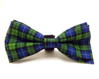 Large Green & Blue Plaid Dog Bowtie