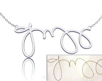 Signature Necklace Handwriting Personalized Name Sterling Silver, nameplate monogram keepsake jewelry handwriting jewelry