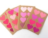 Pink Hearts Blank Note Card