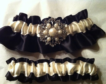 Ivory and Black Satin Garter Set with Pearl & Rhinestone Brooch ~ Vintage Inspired ~ Plus Size Available - Other Colors Available
