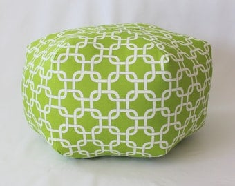 "24"" Ottoman Pouf Floor Pillow Chartreuse Lime Green White Gotcha Chain"
