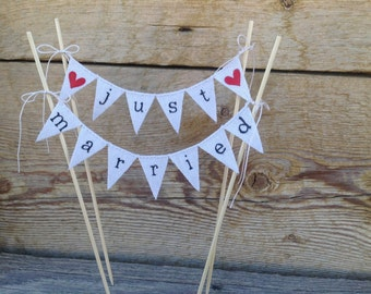 Just Married lowercase Wedding Cake Topper Banner in natural cotton