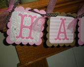 Happy Birthday Banner Pinks and Browns  Matching Tissue Pom Poms Available