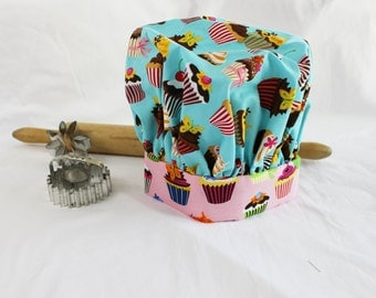 Retro Teal and Pink Cupcake Child Chef Hat - Adjustable