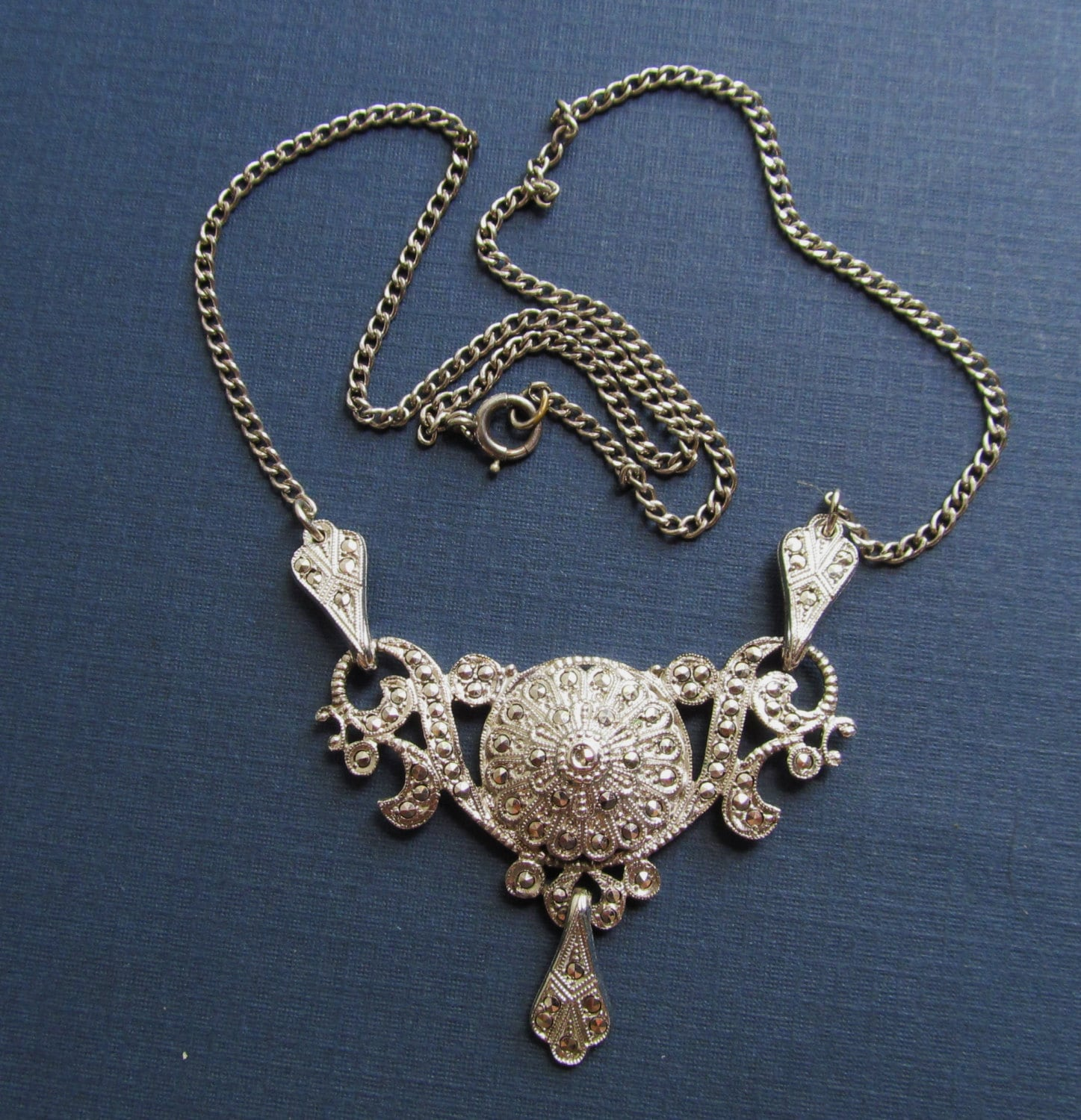 antique sterling silver marcasite necklace art deco jewelry