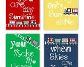 "Train Art for Kids // Train Nursery Decor // You Are My Sunshine Art Prints // Train Art // Colorful Nursery Art // Four 8X10"" PRINTS ONLY"