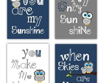 Owl Art // Owl Nursery Decor // Owl Wall Art // You Are My Sunshine Art // Navy Blue and Gray Art Prints // 4-8x10 PRINTS ONLY