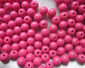 SALE - Fuschia Acrylic Beads 8mm 20 Beads
