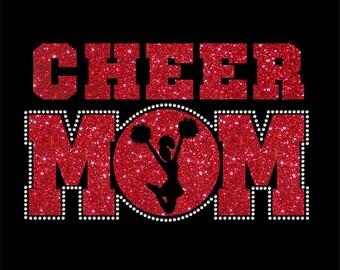 Women's Glitter and Rhinestone Cheer Mom Shirt