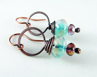Copper Earrings Wire Wrapped Turquoise and Lilac Copper Czech Picasso Earrings Wire Wrapped Jewelry Copper Jewelry Hoop Earrings