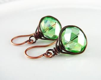Peridot Wire Wrapped Earrings Green Crystal Copper Earrings Wire Wrapped Jewelry