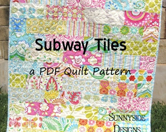 Baby Quilt Pattern, Subway Tiles Fat Eighths Simple Fast Throw Brick Layer Look, Beginner Intermediate Sunnyside Designs, Quilt Pattern