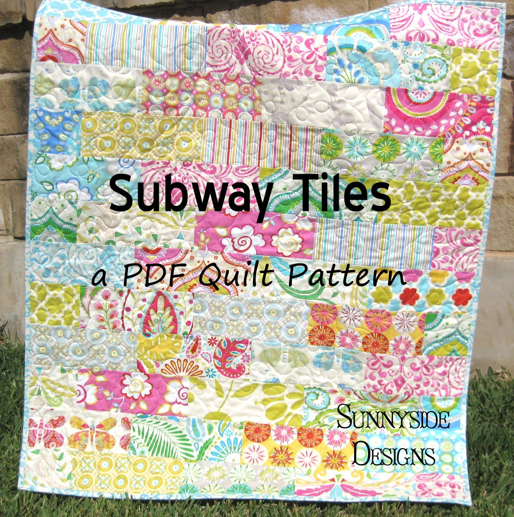 baby quilt pattern subway tiles fat eighths simple fast throw. Black Bedroom Furniture Sets. Home Design Ideas