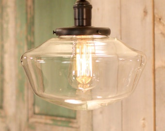 "Reserved for Stephanie - MIXED ORDER - Downrod Pendant Lighting with 10"" Clear Schoolhouse Style Glass Shade"