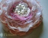 Bridal fabric flower in peach blush pink orchid, Wedding sash flower pin, Blush and peach bouquet, Flower for corsage, Flower brooch