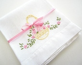 Large Vintage Cotton Muslin Dish Towel with Simple Hand Embroidered Flower Basket Pink Green Yellow 1950
