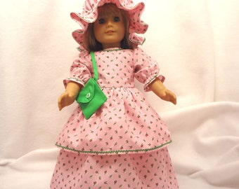 Pink floral print doll dress for 18 in dolls, long with bright green baby rick-rack trim.