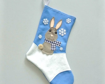 Rabbit christmas stocking by allenbrite studio your choice of color