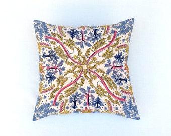 Silk Hankie Pillow, Vintage Italian Botanical Print Boudoir Pillow, Handkerchief, Pocket Square