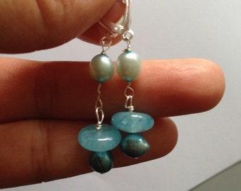 Blue pearl, Angelite Silver Earrings, Lilyb444,  jewelry,