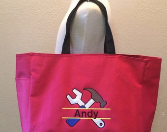 Personalized Tools Tote Snack Toy Diaper Bag Hammer Wrench