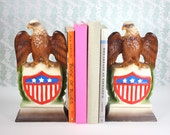 Pair of Federal Eagle Banks / Bookends by Ceramaster - Vintage 1970s ceramic