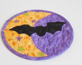 Bat Halloween Mug Rug-Reversible-Free Shipping to US and Canada