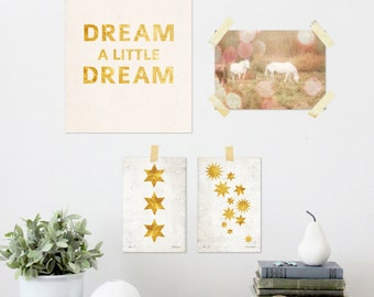 Dreamy 4pc Gallery, Instant Download, One 8 x 10, One 5 x 7, Two 4 x 6, Dream a little Dream, White Horses, Gold Stars