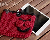 iPad Mini case, burgundy owl crochet case - READY TO SHIP
