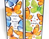 Paper Bookmarks- Butterfly: Set of 2- approx. 2 1/2 x 7 inches