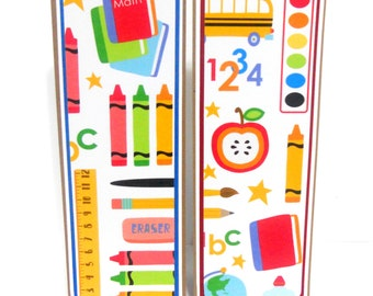 CLEARANCE- Grade School: Paper Bookmarks Set of 2- approx. 2 1/2 x 7 inches
