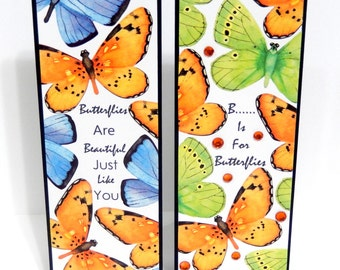 Butterflies: Paper Bookmarks Set of 2- approx. 2 1/2 x 7 inches