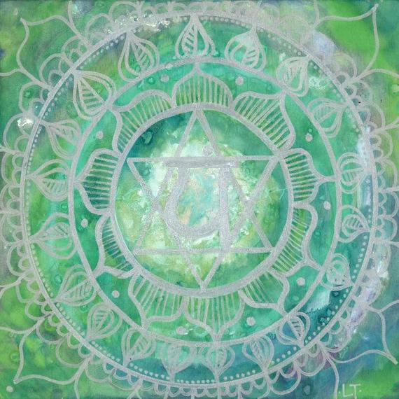 8X8 Heart Chakra Mandala Print by Lauren Tannehill ART