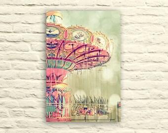 Carnival Swings photo. girly art. santa cruz. nursery decor. little girl's room. canvas wall art. pastel. pink. dreamy. whimsical