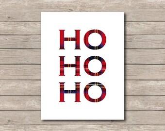 Ho Ho Ho Plaid Christmas Printable, Christmas Art Print, Red Ho Santa Art