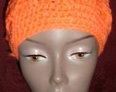 Crochet Cable Pom-Pom Skull Cap-PEACH