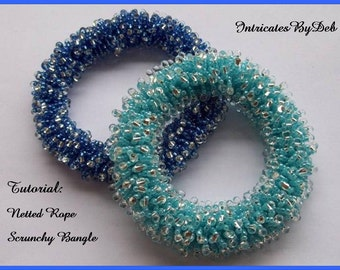 Tutorial Beaded Netted Rope Scrunchy Bangle Bracelet - Jewelry Beading Pattern, Beadweaving Instructions, PDF, Do It Yourself, Download