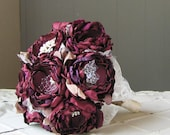 Custom Fabric flower brooch bouquet . Choose your colors and accents. Burgundy wine merlot and carmel . Any color