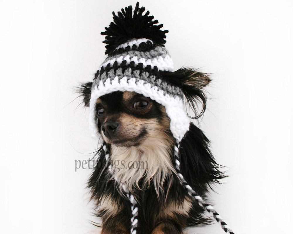Crochet Pattern For Dog Hat With Ear Holes : Dog Hat crochet black white and grey stripe ear flap hat for