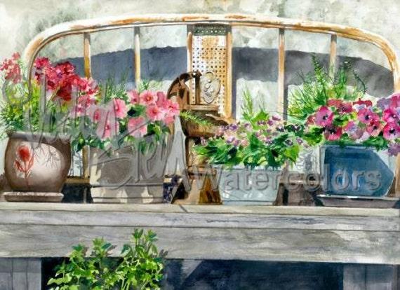 "Vintage Bed, Water Pump, Flower Pots, Pink, White, Petunias, Pansies, Watercolor Painting Print, Wall Art, Home Decor, ""Bed of Flowers"""