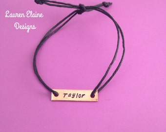 Custom Hand Stamped Copper Rectangle Hemp Bracelet- (Pick your own Color and Phrase)