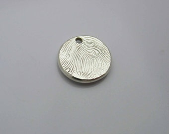 Silver Fingerprint Charm, Silver Fingerprint, Personalized Fingerprint, Sterling Silver Charm, Personalized Charm, Memorial